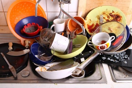 Dirty dishes in an apartment