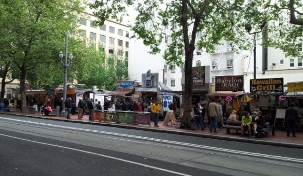 Food trucks line the streets in Portland, full of delicious eats on the go.