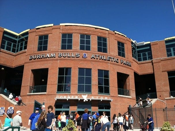 "The Durham Bulls Athletic Park is home to the local minor league baseball team, as fans of the movie ""Bull Durham"" are well aware."