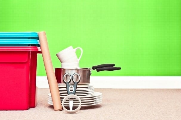 Pack your stuff in reusable plastic bins that can be reused around the home after you move.