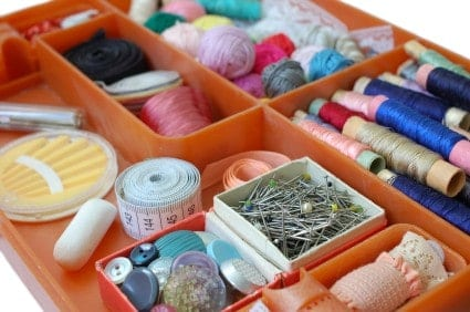 Don't forget a sewing kit when you move into your first place.