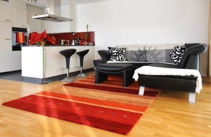 Add a bold rug to personalize your furnished Richmond apartment.