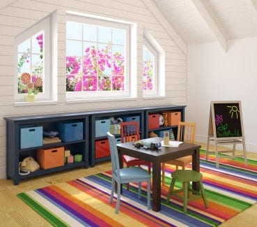 Encourage your child to imagine and explore with an organized, creative playroom in your apartment.