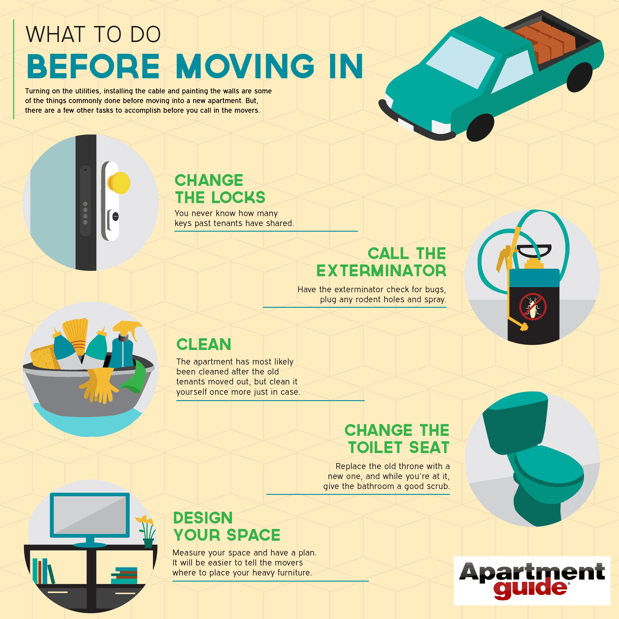 What to do before moving in infographic for Moving into a new build house tips
