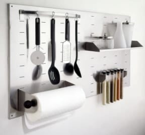 Keep your kitchen organized by taking advantage of hanging space.