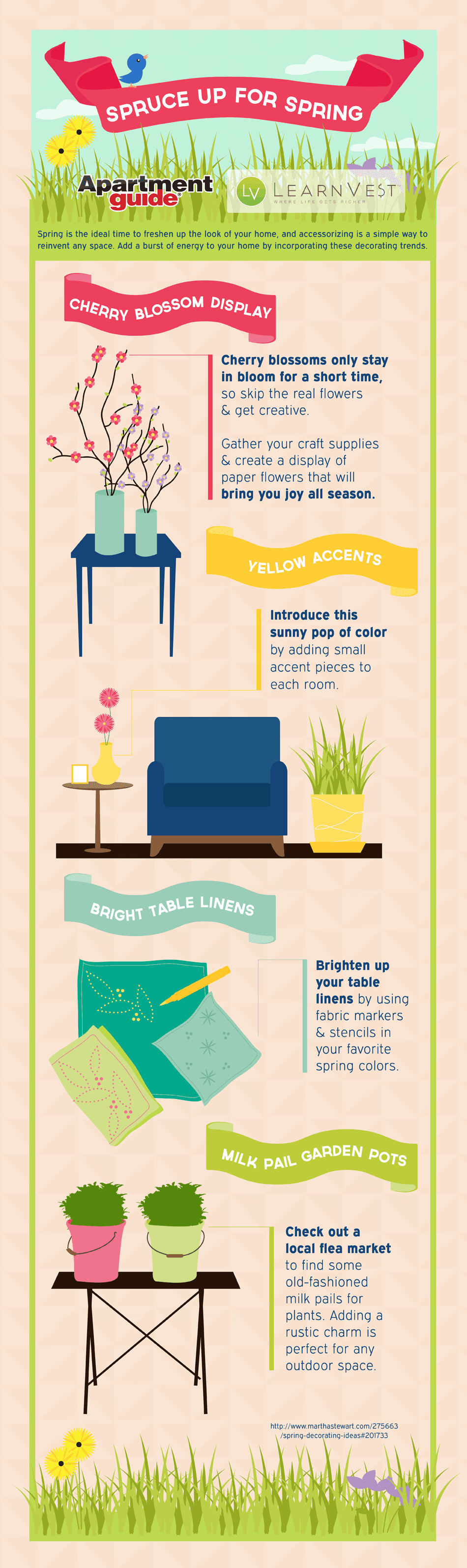 Spruce up for spring freshen up your home infographic for Decorating advice