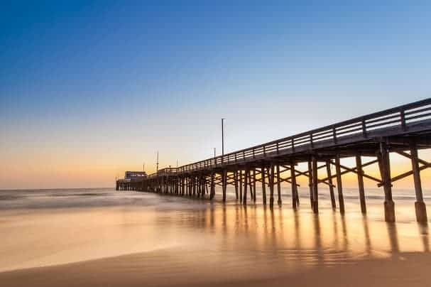 The piers of Newport Beach, CA, are major tourist draws.