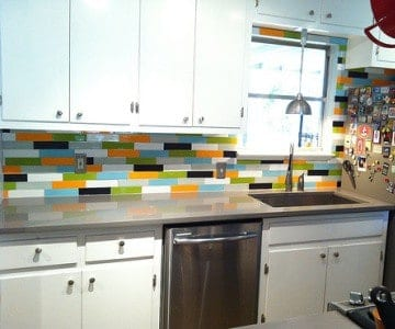 Peel-and-stick tiles are one option to add some temporary color to your kitchen.
