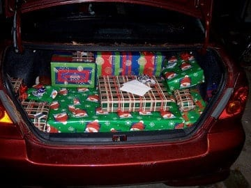The trunk of a sedan is a perfect place to hide holiday presents so prying little eyes won't find them.
