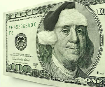 hundred dollar bill with santa hat