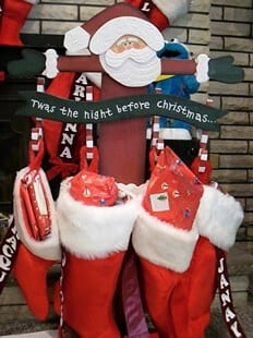 stand alone stocking holders are good alternatives to the mantel - Twas The Night Before Christmas Decorating Ideas