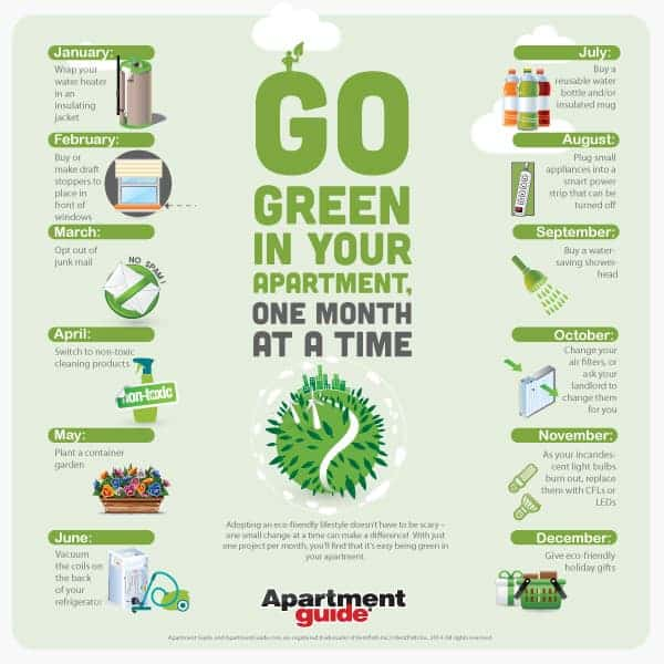 Go Green In Your Apartment Month-by-Month (Infographic