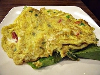 Denver omelettes are made with eggs, ham, peppers, onions, cheese