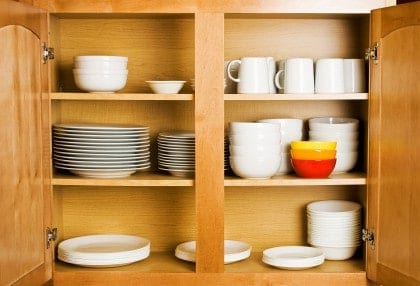 Organize your kitchen cabinets for Arranging dishes in kitchen cabinets