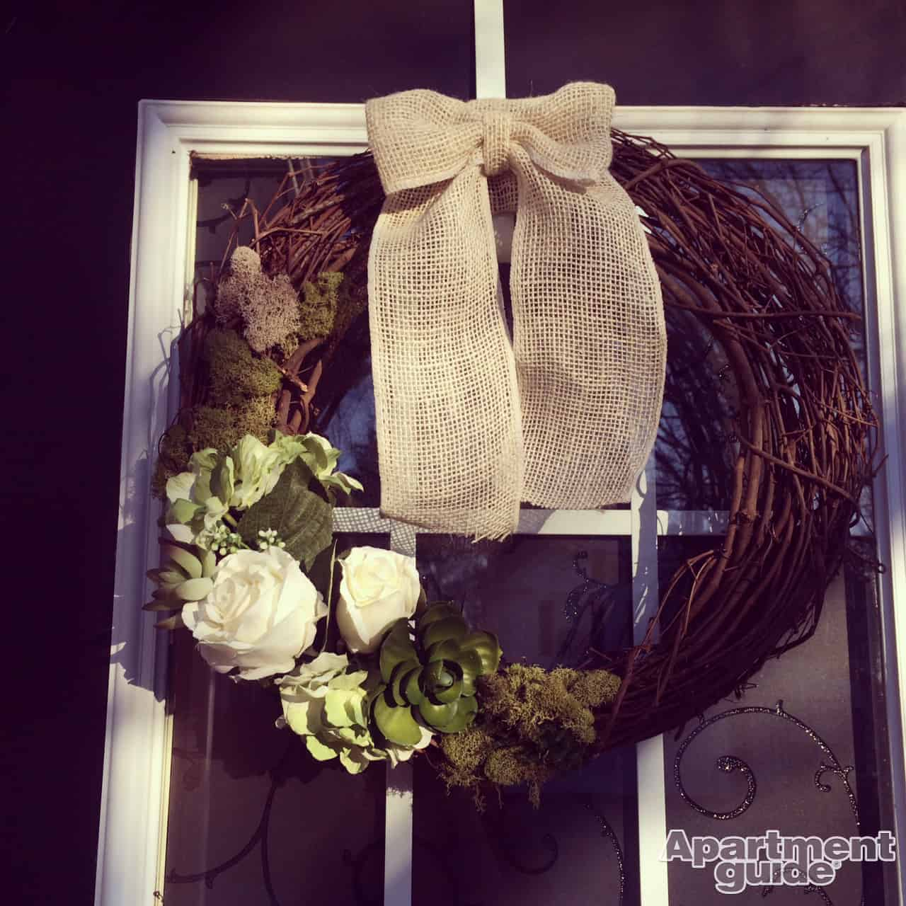 DIY Spring Wreath with Burlap Bow