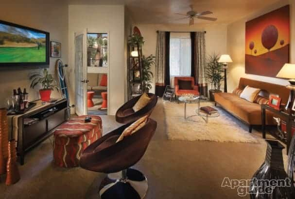 This apartment dweller loves video games, so he incorporated a gaming station in his apartment. Image: San Marbeya, Tempe, AZ