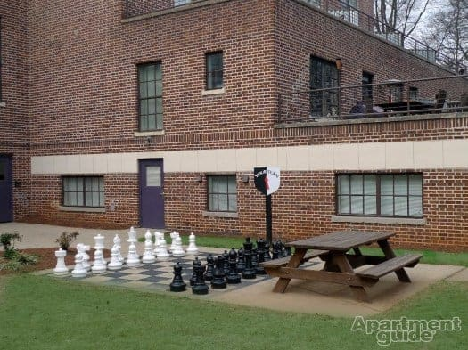 When you live in Bass Lofts, you're walking distance from a lot of life in Little Five Points. The apartments are set in a renovated high school building. A life-sized chess game, anyone?