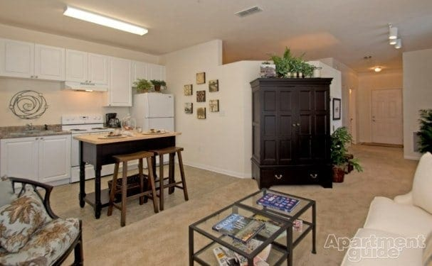 A furnished apartment will come with assorted furniture and kitchen equipment. Image: Summit Crossing, Cumming, GA