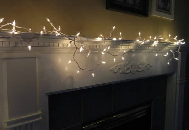 The mantle is a prime place to display fairy lights.
