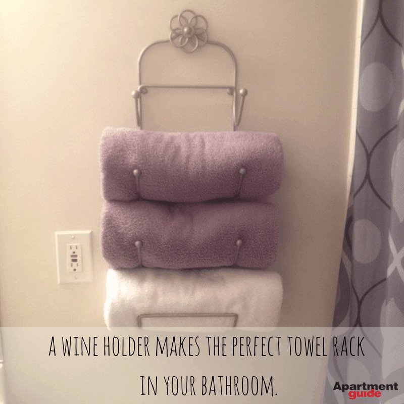 Apartment Hacks: Use a wine holder as a towel rack
