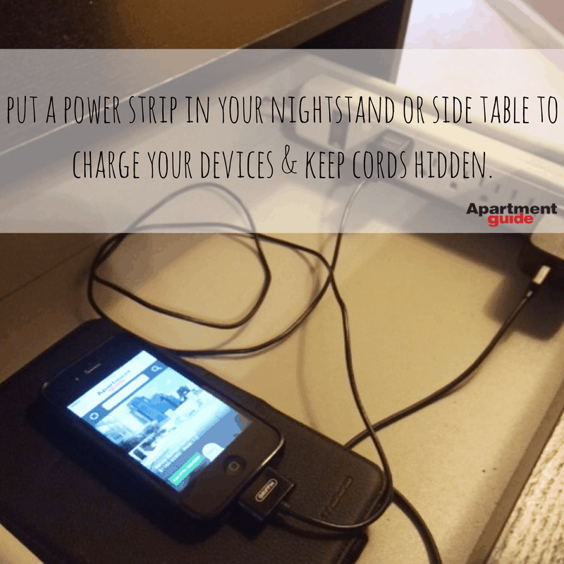 Apartment Hacks: Hide a power strip in a drawer