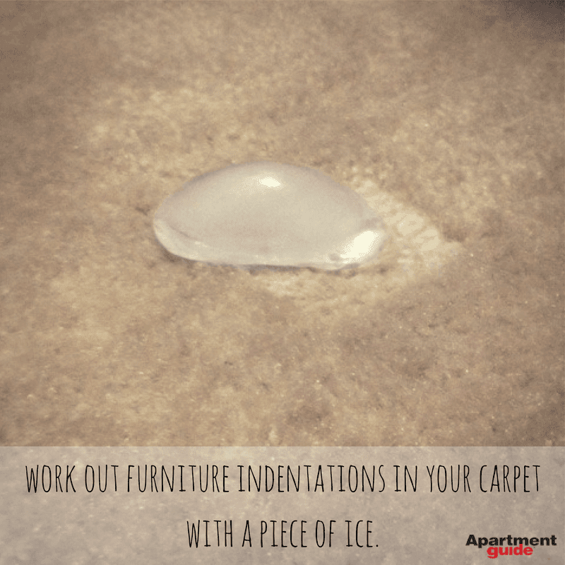 Apartment Hacks: Use ice to remove furniture indentations in carpet
