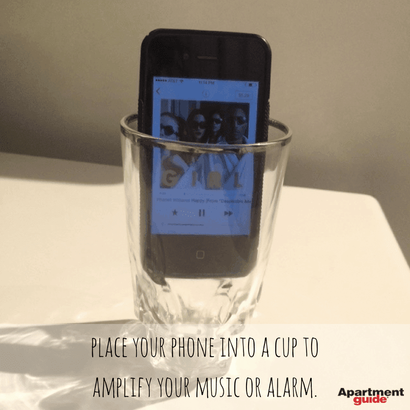 Apartment Hacks: Place your phone in a cup to amplify music or an alarm