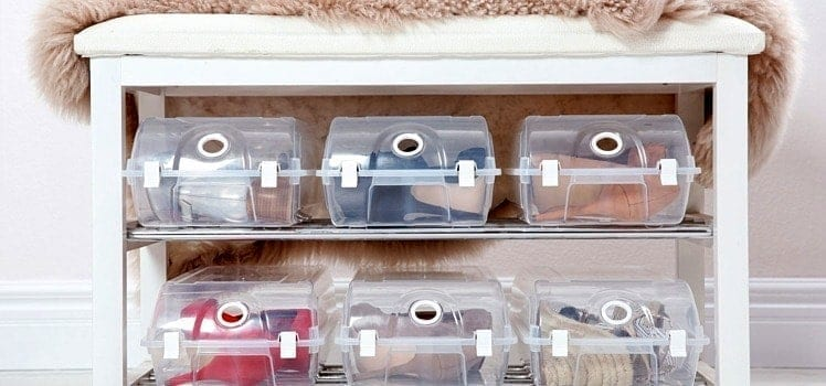 Some organization with transparent shoeboxes