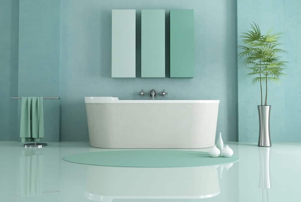 Room color ideas for every space for Aqua colored bathroom accessories