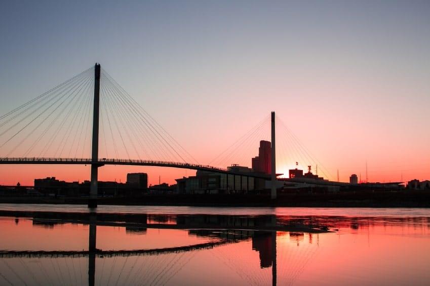 Omaha Nebraska skyline at sunset