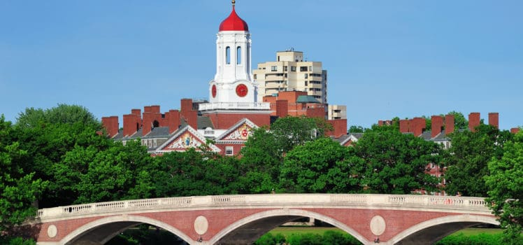 Harvard University's iconic campus across the Charles River from Boston