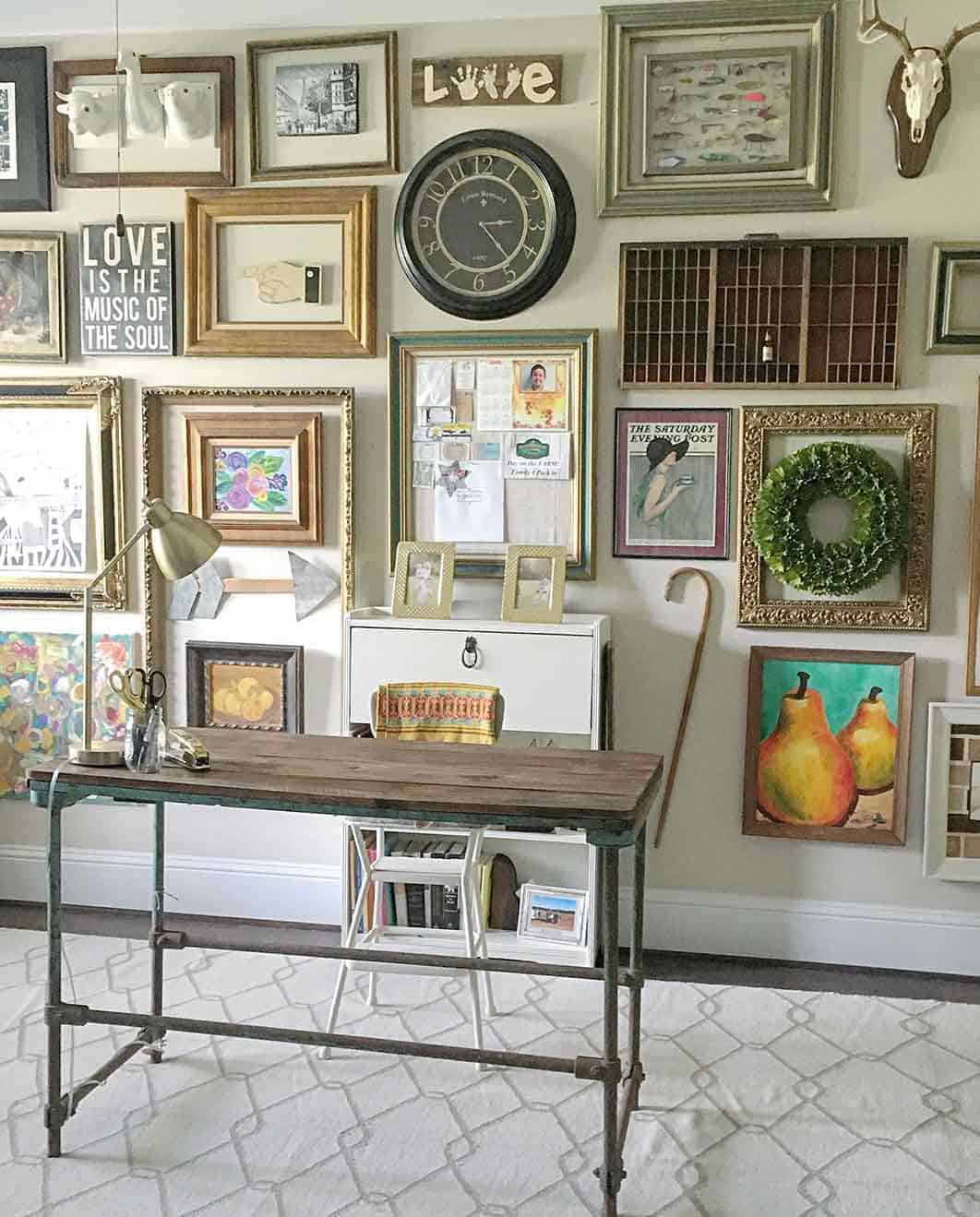 desk with framed gallery