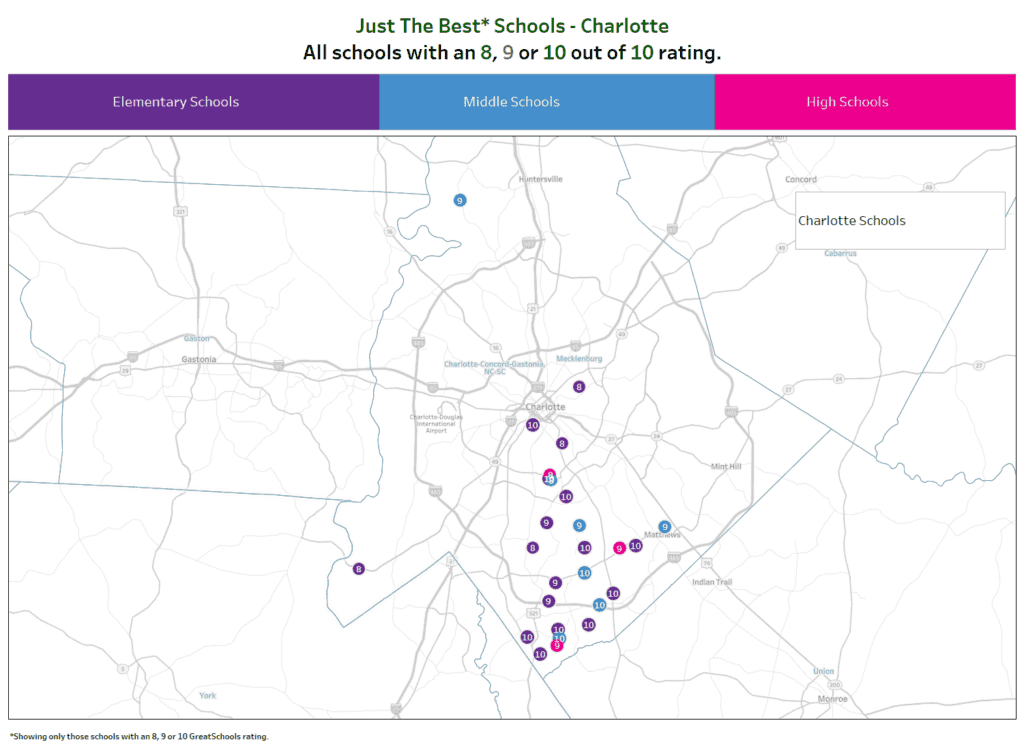 Charlotte Schools map