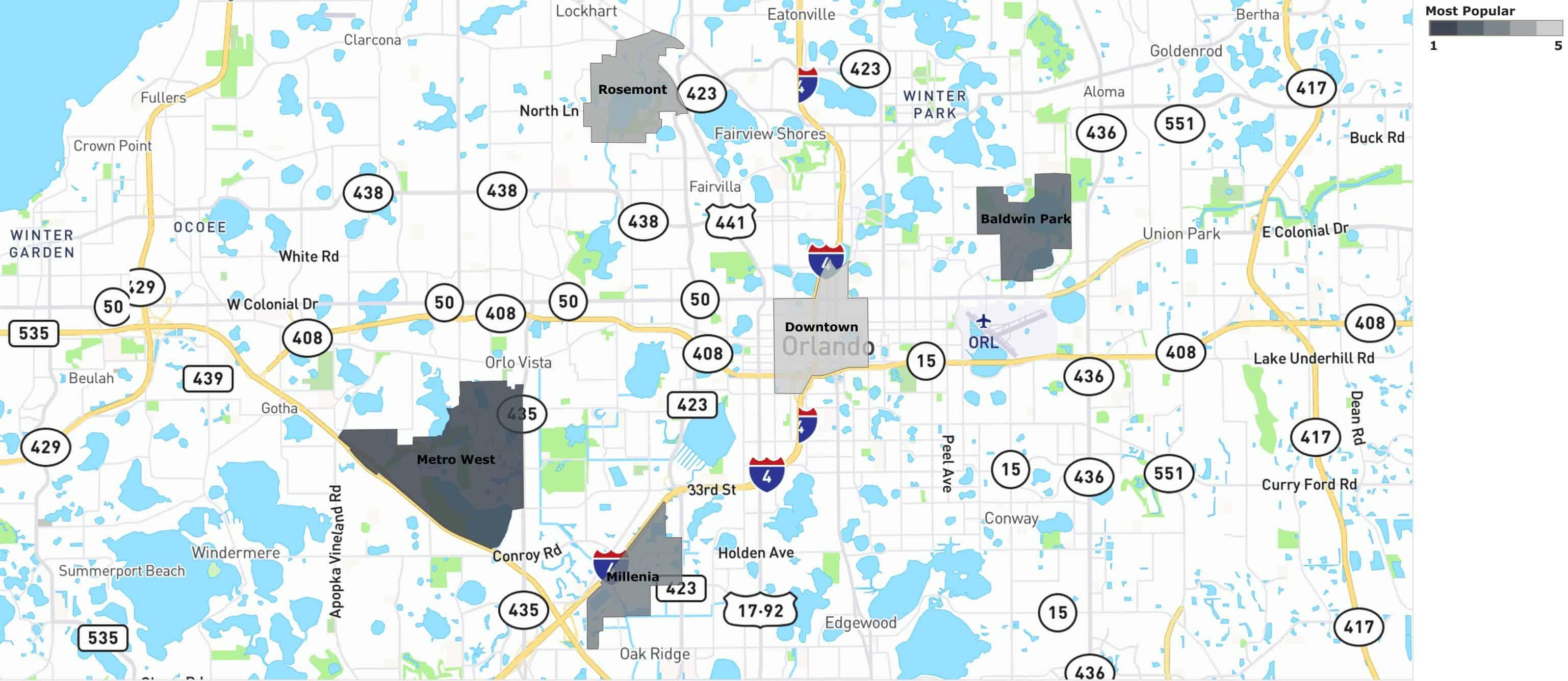 most popular neighborhoods in Orlando