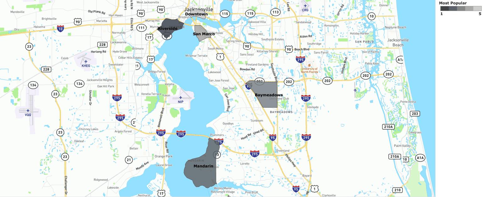 jacksonville most popular neighborhoods