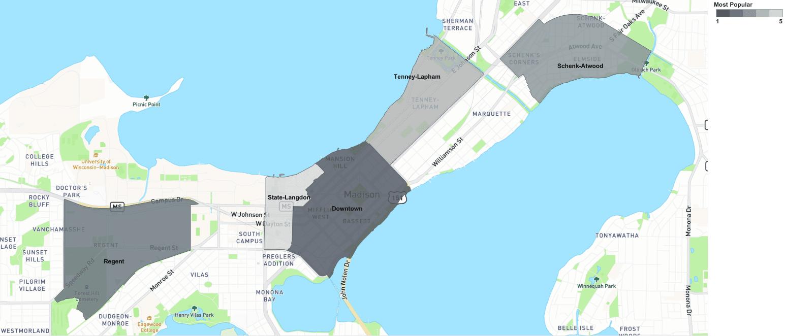 madison most popular neighborhood