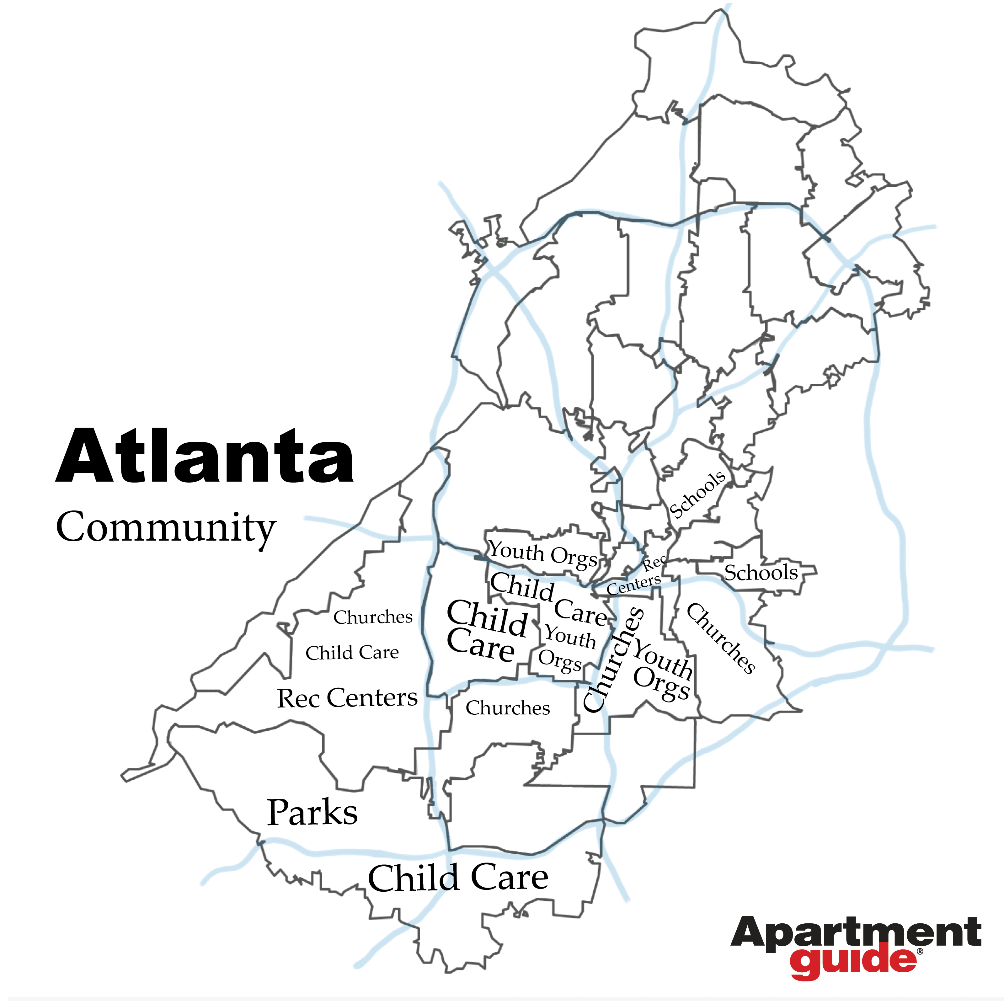 map showing most popular community or family-friendly businesses in atlanta