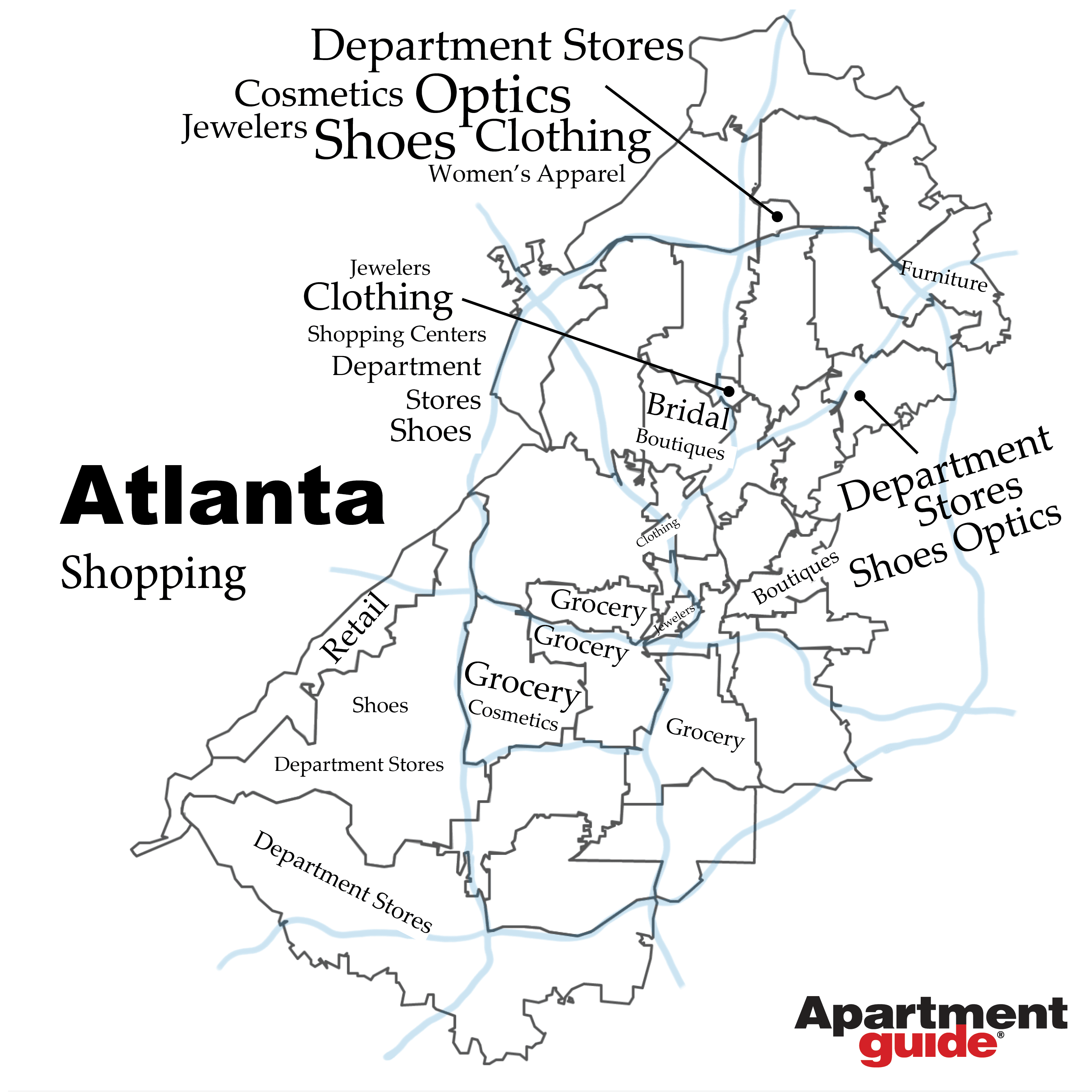 map showing most popular retail businesses in atlanta