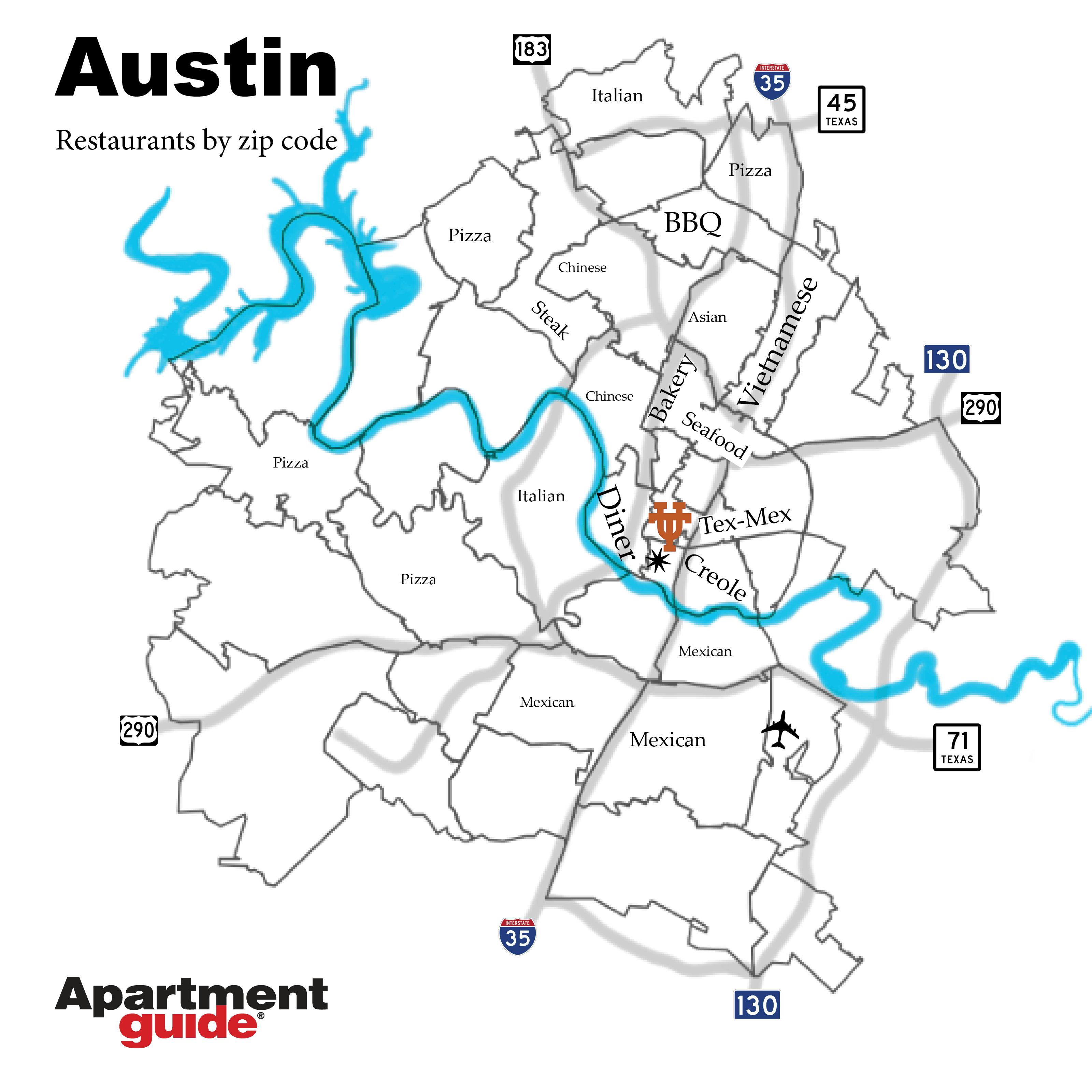 Austin map by most popular restaurant types