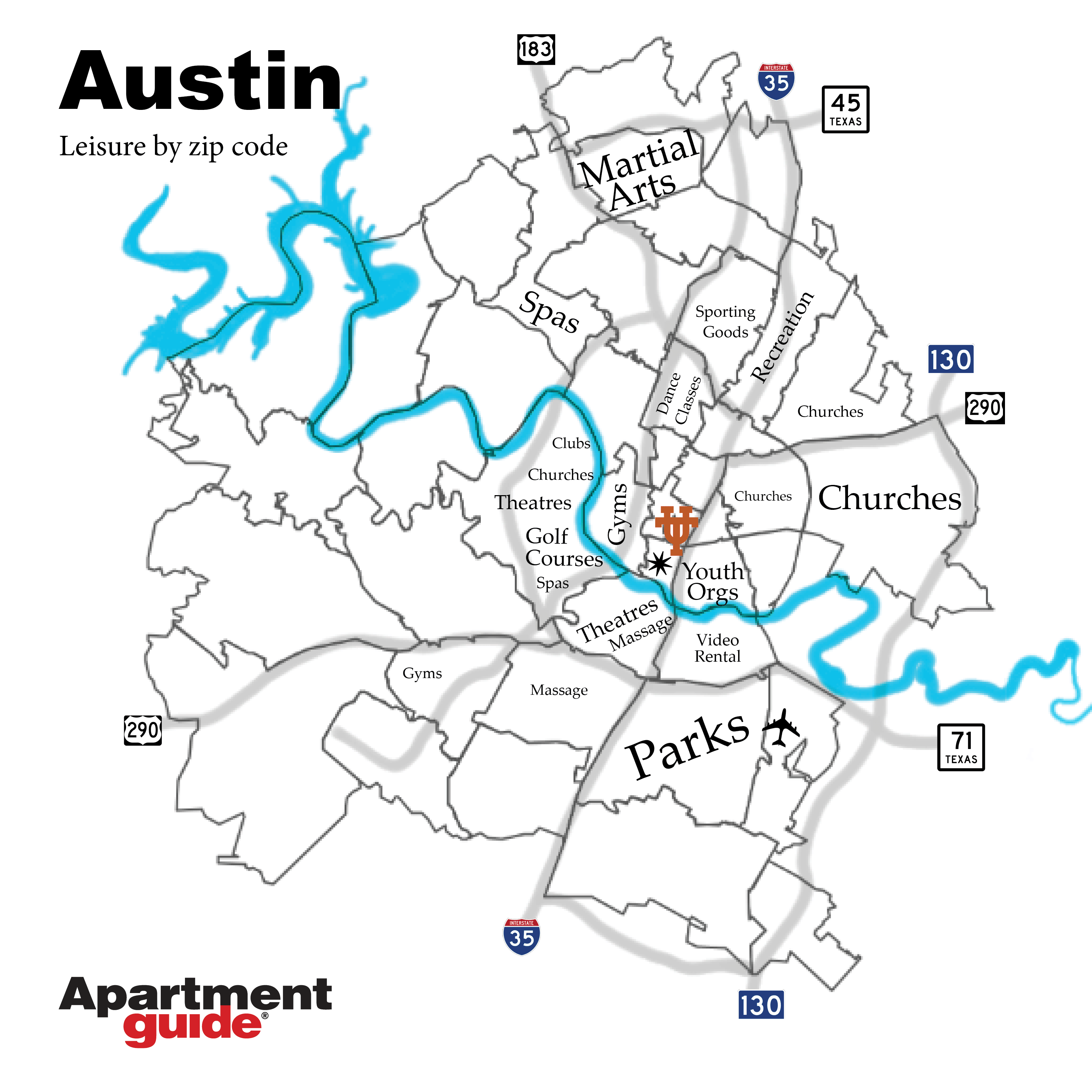 Austin map by most popular leisure types