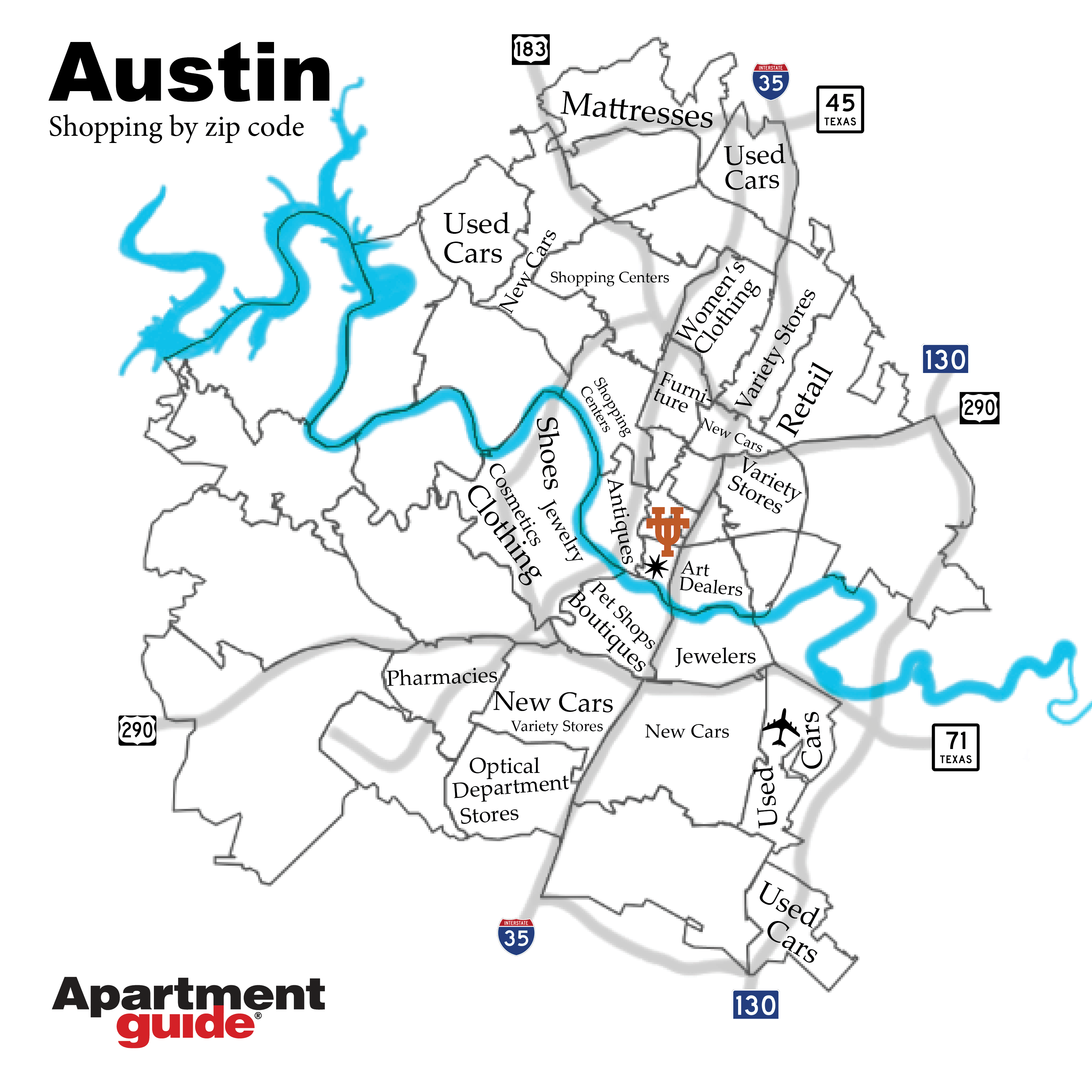 Austin map by most popular retail types