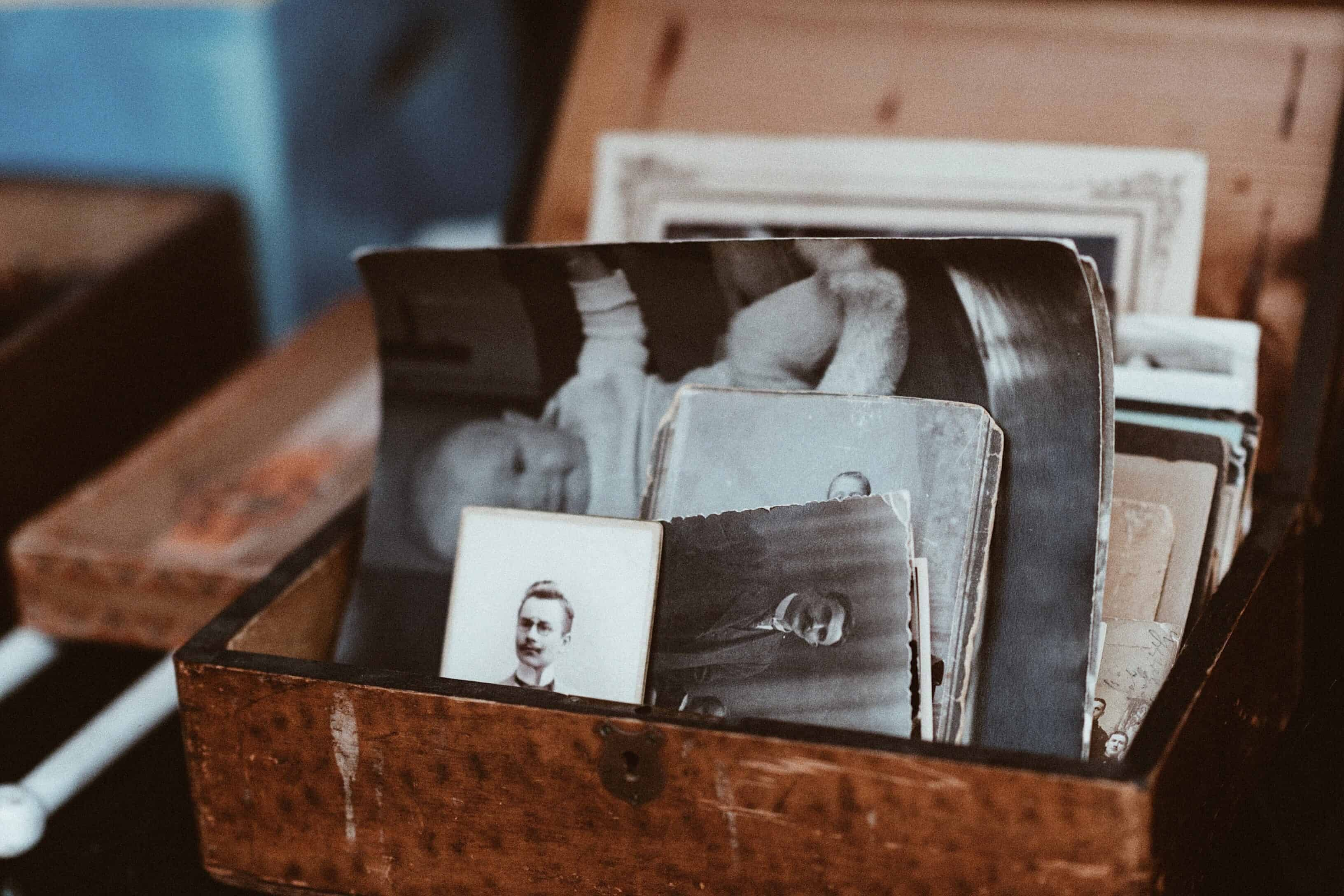 old family photos in box