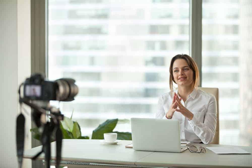 woman leading a webinar