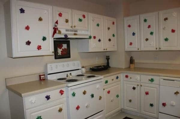 Elf with bows in kitchen
