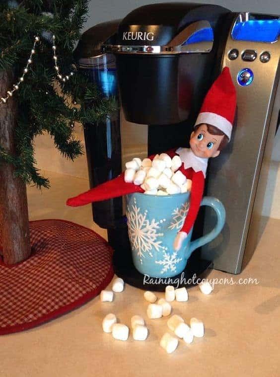 Elf taking chocolate hot tub bath