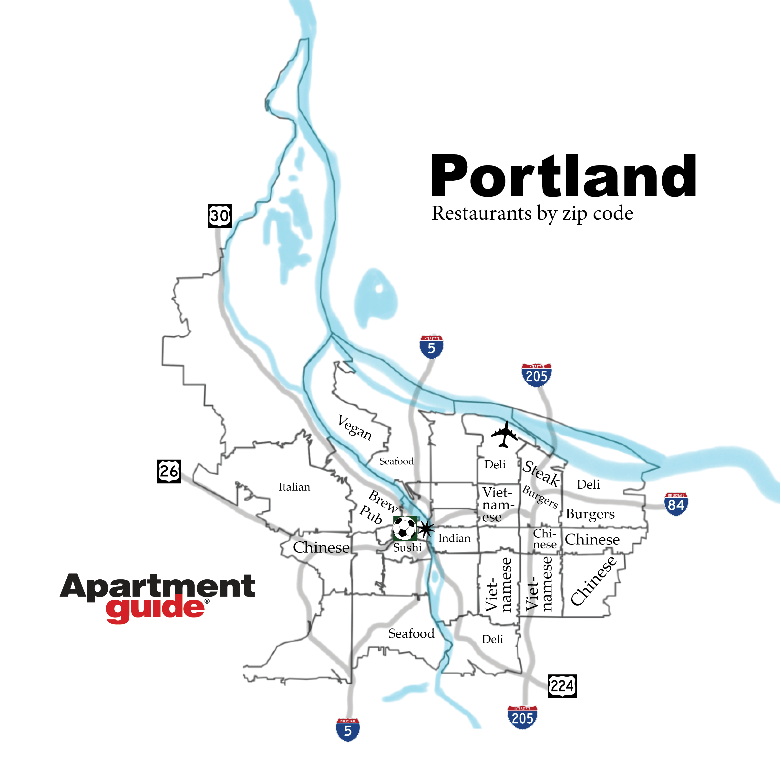 Portland restaurants by zip code