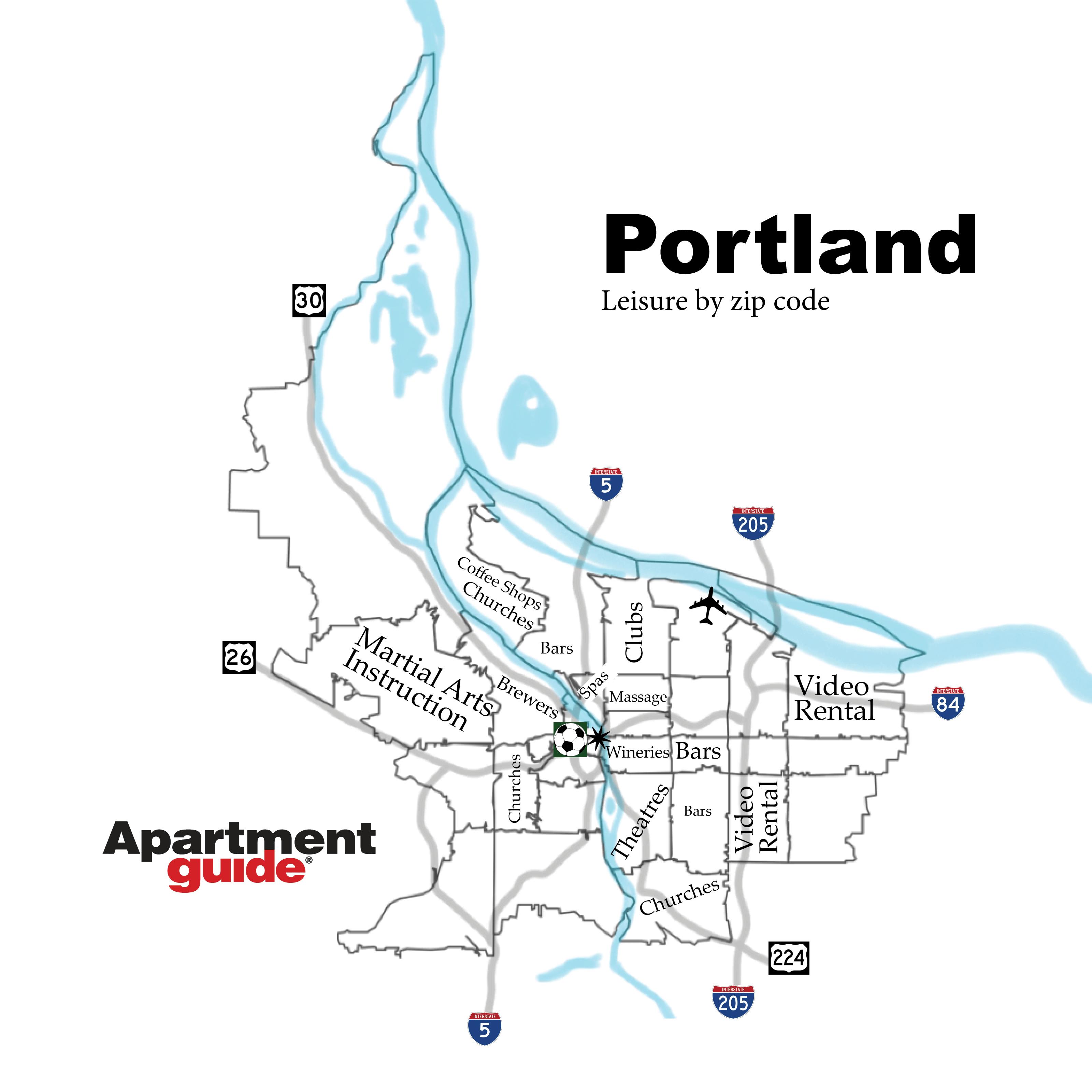 Portland leisure by zip code