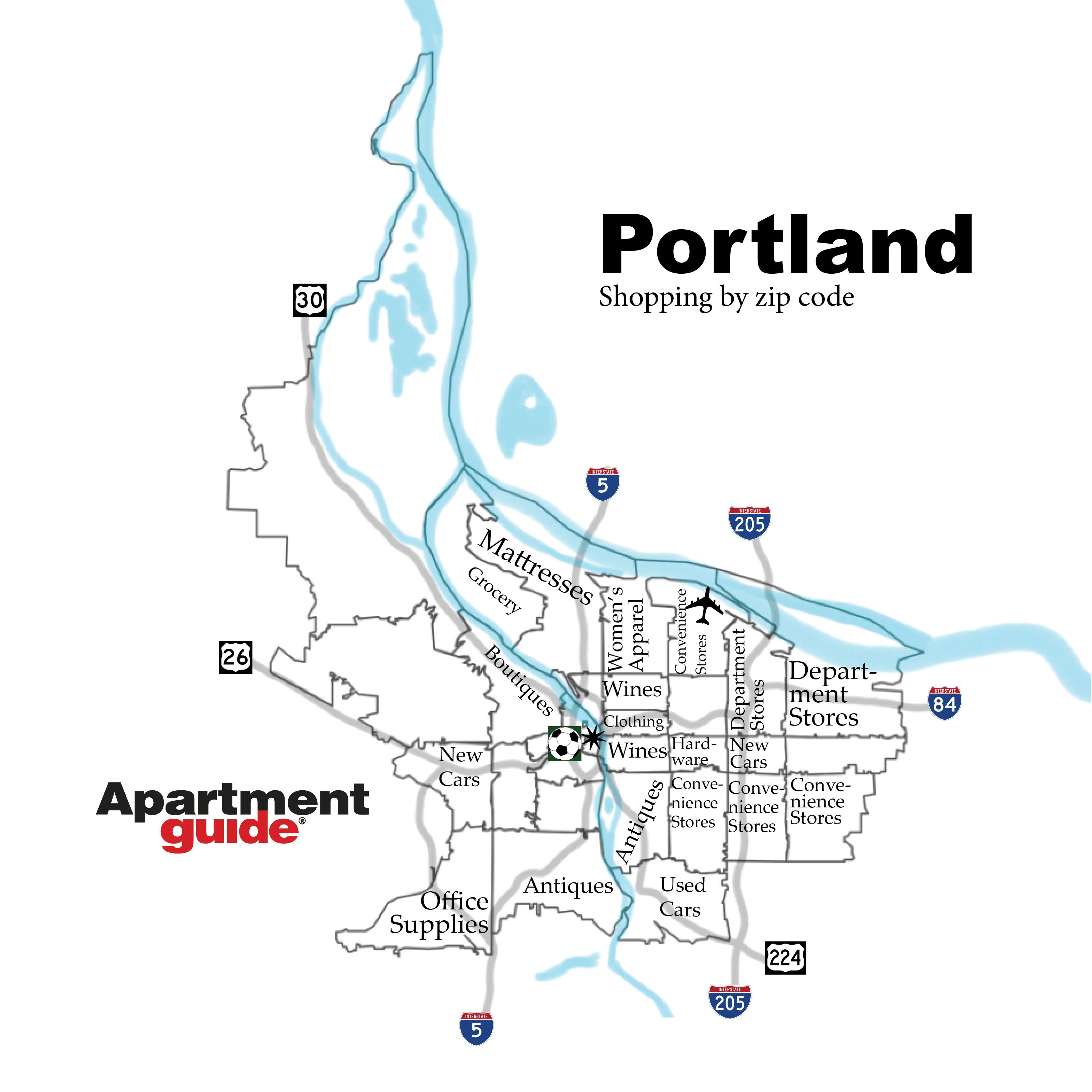 Portland shopping by zip code