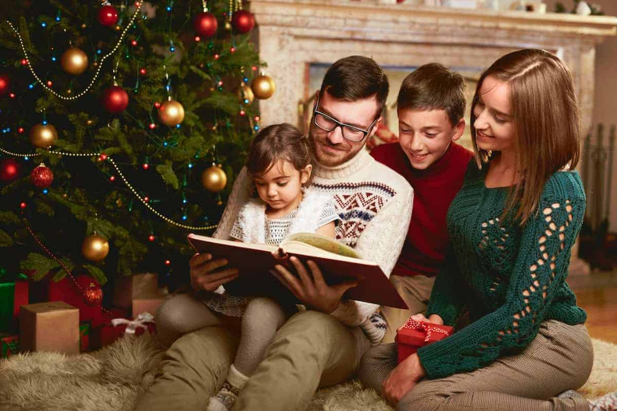family reading book