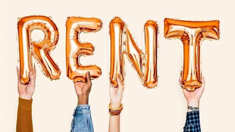 ballon that says rent
